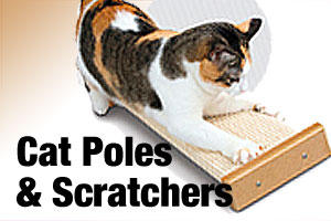 Cat poles, scratching posts and boards