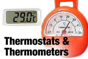 Thermostats and thermometers for reptile cages