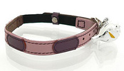 Togo Pink Leather Cat Collar