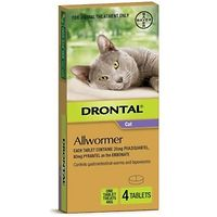 Drontal Allwormer Ellipsoid Cats & Kittens to 4kg - 4 Tabs
