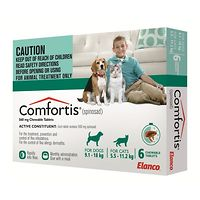 Comfortis Medium Dogs 9.1-18kg - Green 6pk