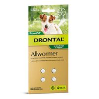 Drontal Allwormer Small Dogs 3kgs - 4 Tabs