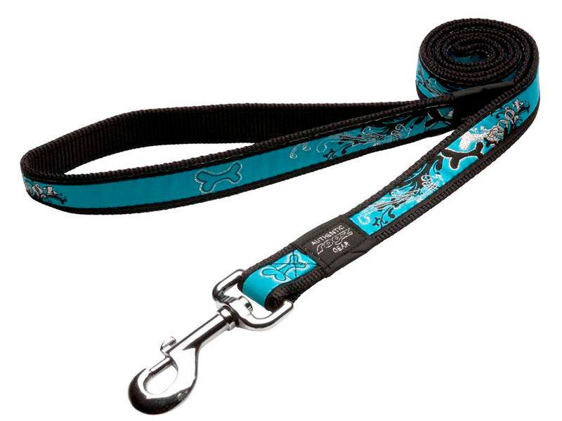 Rogz Dog Collars Turquoise Chrome