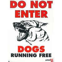 Large Dogs Running Free Gate Sign