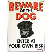 Beware of the Dog Fence Gate Sign Rottweiler