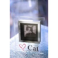 Love Cat Glass Photo Frame