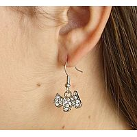 Crystal Terrier Drop Earrings